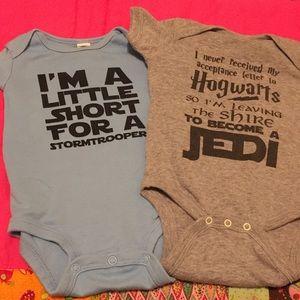 Two Star Wars onesies